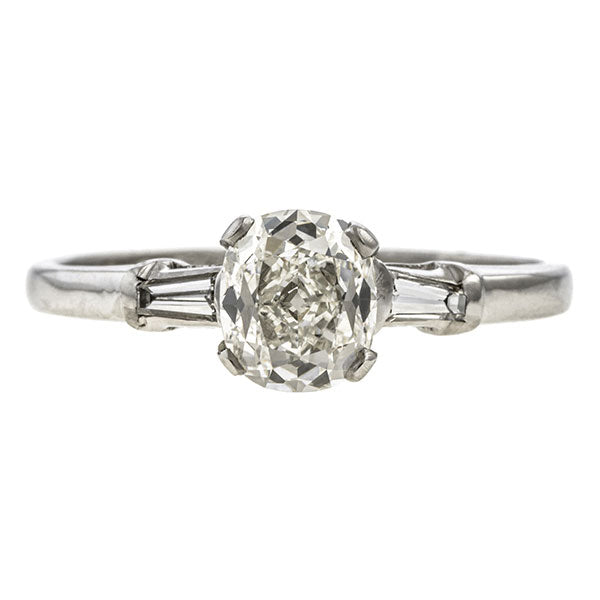Vintage ring: a Platinum Engagement Ring, Cushion 1.16ct. sold by Doyle & Doyle vintage and antique jewelry boutique.