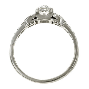 Vintage ring: a Platinum Oval Cut Diamond Engagement Ring sold by Doyle & Doyle vintage and antique jewelry boutique.