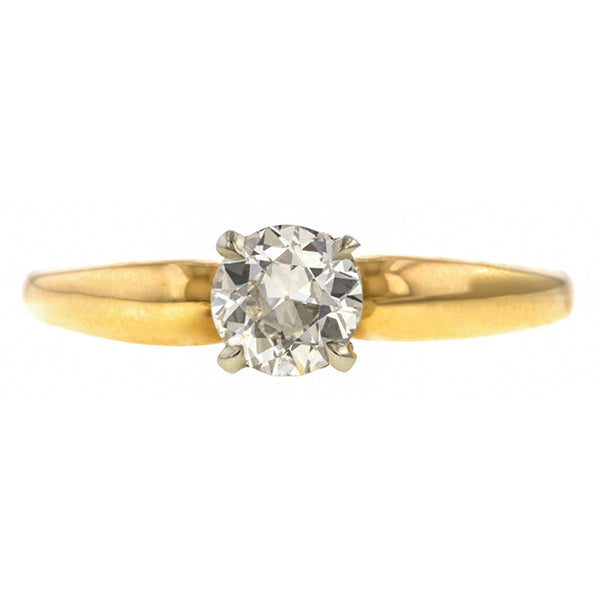Vintage ring: a Yellow Gold Solitaire Old European Cut Diamond Engagement Ring sold by Doyle & Doyle vintage and antique jewelry boutique.