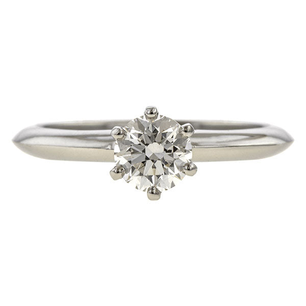 Vintage ring: a PlatinumTiffany & Co. Solitaire Engagement Ring sold by Doyle & Doyle vintage and antique jewelry boutique.