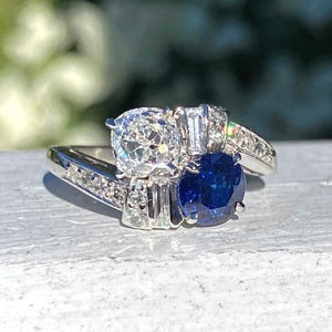 Vintage Toi et Moi Sapphire & Diamond Ring set in platinum from Doyle and Doyle 109375R