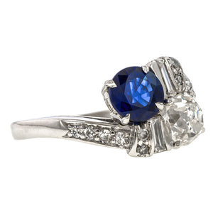 Vintage ring: a Platinum Toi et Moi Sapphire & Diamond Ring sold by Doyle & Doyle vintage and antique jewelry boutique.