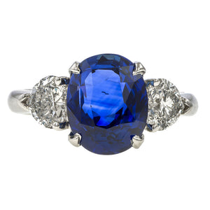Estate ring: a White Gold Sapphire & Diamond Ring sold by Doyle & Doyle vintage and antique jewelry boutique.