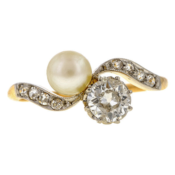 Vintage Pearl & Diamond Toi et Moi Ring sold by Doyle & Doyle vintage and antique jewelry boutique.