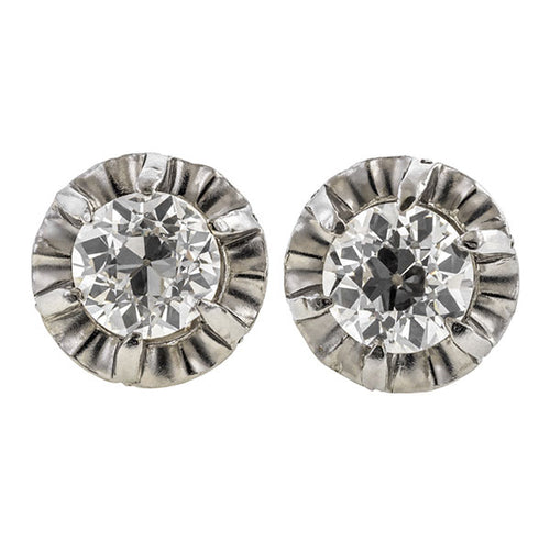 Art Deco Diamond Stud Earrings, 1.38ctw.