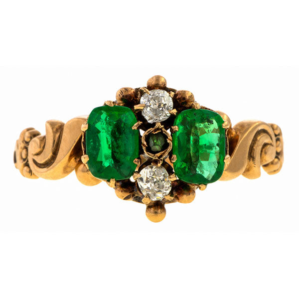 Victorian ring: a Yellow Gold Emerald & Diamond Ring sold by Doyle & Doyle vintage and antique jewelry boutique.
