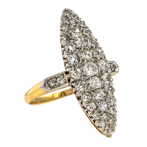 Edwardian Navette Diamond Cluster Ring sold by Doyle & Doyle vintage and antique jewelry boutique.
