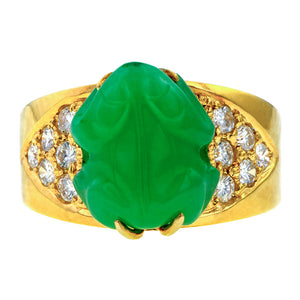 Estate Carved Jade & Diamond Ring sold by Doyle & Doyle vintage and antique jewelry boutique.