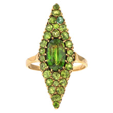 Victorian Demantoid Garnet Navette Ring sold by Doyle & Doyle vintage and antique jewelry boutique.