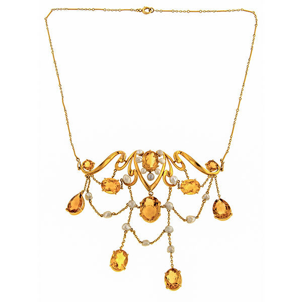 Art Nouveau Citrine & Pearl Necklace