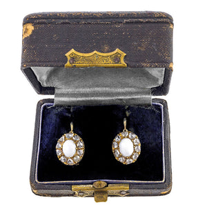 Antique Opal & Rose Cut Diamond Earrings sold by Doyle & Doyle vintage and antique jewelry boutique.