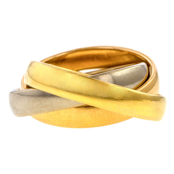 Vintage Tri-gold Rolling Ring sold by Doyle & Doyle vintage and antique jewelry boutique.