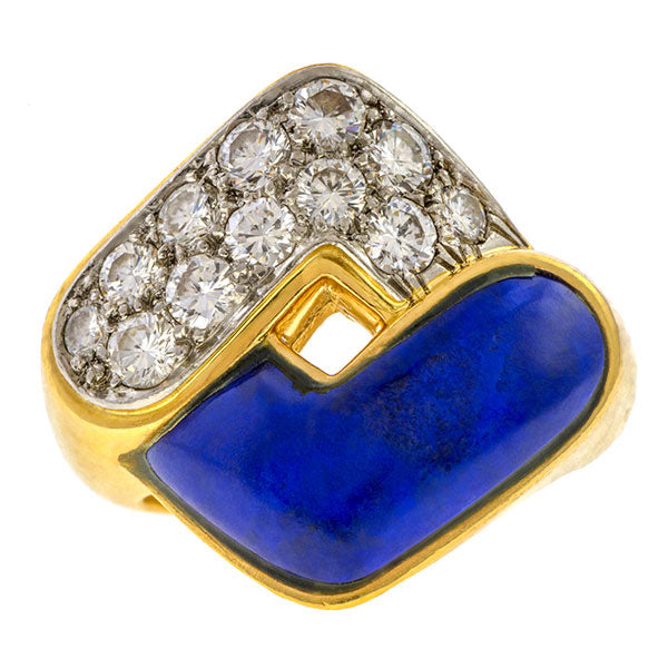 Estate Lapis & Diamond Ring sold by Doyle & Doyle vintage and antique jewelry boutique.