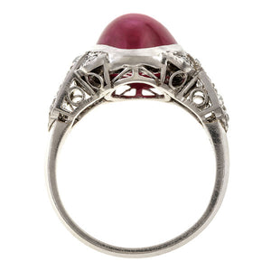 Art Deco Ruby & Diamond Ring sold by Doyle & Doyle vintage and antique jewelry boutique.