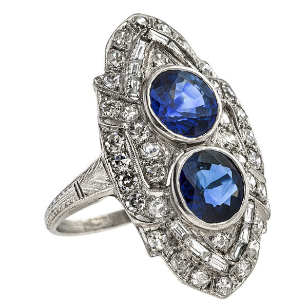 Art Deco Sapphire & Diamond Dinner Ring sold by Doyle & Doyle vintage and antique jewelry boutique.