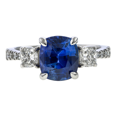 Sapphire & Diamond Ring, Cushion 3.24ct. sold by Doyle & Doyle vintage and antique jewelry boutique.