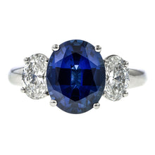 Sapphire & Diamond Ring, Oval 4.14ct. sold by Doyle & Doyle vintage and antique jewelry boutique.