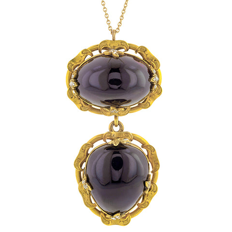 Victorian Garnet Carbuncle & Rose Cut Diamond Pendant