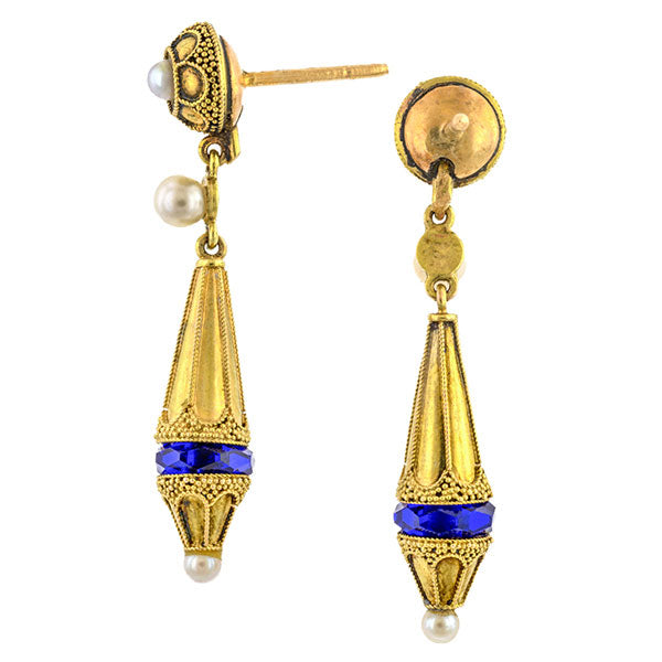 Victorian Etruscan Revival Pearl & Glass Drop Earrings sold by Doyle & Doyle vintage and antique jewelry boutique.