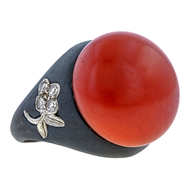 Vintage Marsh Coral & Diamond Blackened Steel Ring sold by Doyle & Doyle vintage and antique jewelry boutique.