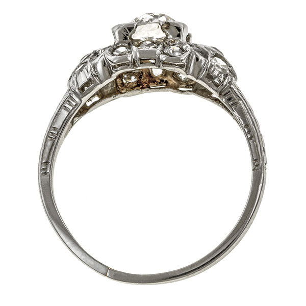 Art Deco Engagement Ring, Old European 0.93ct. sold by Doyle & Doyle vintage and antique jewelry boutique.