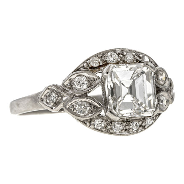 An Art Deco Asscher cut Diamond Engagement Ring in platinum sold by Doyle & Doyle an antique and vintage jewelry boutique.