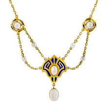 Arts & Crafts Moonstone, Pearl & Enamel Necklace sold by Doyle & Doyle vintage and antique jewelry boutique.