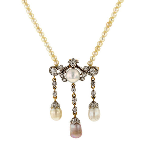 Antique Pearl & Diamond Pendant Necklace sold by Doyle & Doyle vintage and antique jewelry boutique.