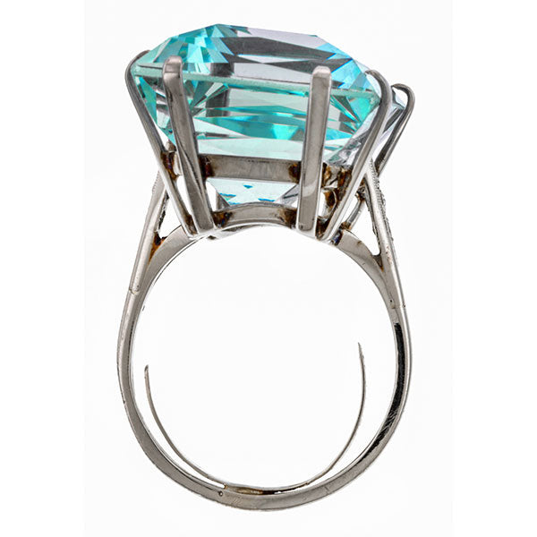 Vintage Aquamarine & Diamond Ring sold by Doyle & Doyle vintage and antique jewelry boutique.