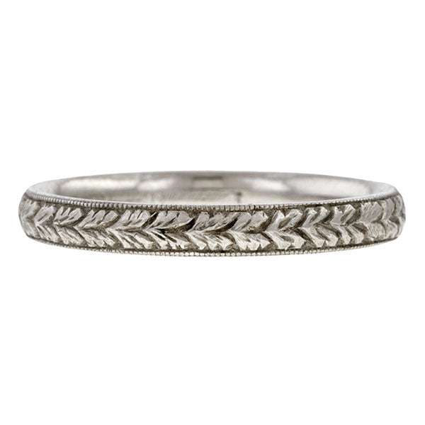 Vintage Hand Engraved Wedding Band sold by Doyle & Doyle vintage and antique jewelry boutique.