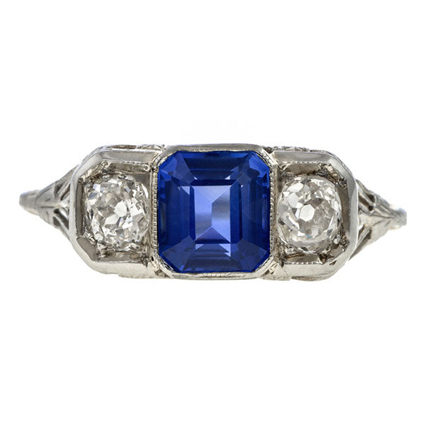 Vintage Sapphire & Diamond Three Stone Ring sold by Doyle & Doyle vintage and antique jewelry boutique.
