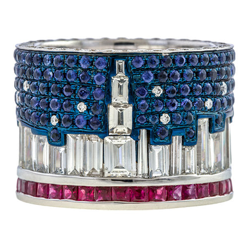 New York Skyline Ring sold by Doyle & Doyle vintage and antique jewelry boutique.