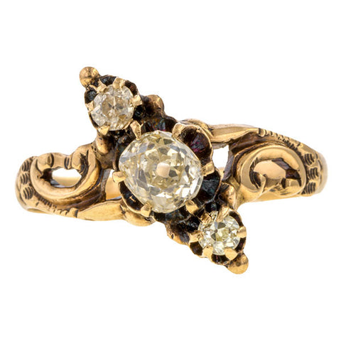 Antique Victorian Three Stone Diamond Ring, Old Mine 0.58ct. sold by Doyle & Doyle vintage and antique jewelry boutique.