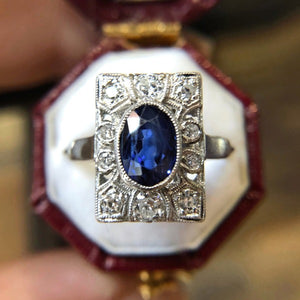 Art Deco Sapphire and Diamond Ring set in platinum from Doyle & Doyle 109554R