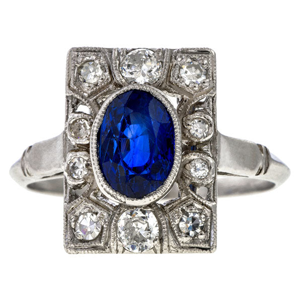 Art Deco Sapphire & Diamond Ring sold by Doyle & Doyle vintage and antique jewelry boutique.