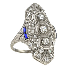 Art Deco Diamond & Sapphire Dinner Ring sold by Doyle & Doyle vintage and antique jewelry boutique.