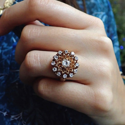 Vintage thirteen-diamond cluster ring 14k gold