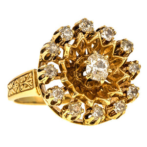 Vintage Diamond Cluster Ring, 1.50ctw. sold by Doyle & Doyle vintage and antique jewelry boutique.