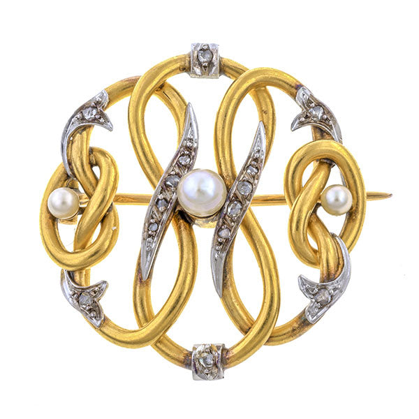 Antique Diamond & Pearl Pin sold by Doyle & Doyle vintage and antique jewelry boutique.