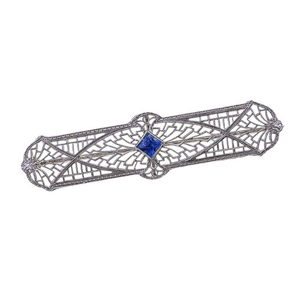 Art Deco Sapphire Pin sold by Doyle & Doyle vintage and antique jewelry boutique.