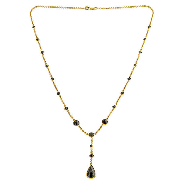 Black Diamond Necklace sold by Doyle & Doyle vintage and antique jewelry boutique.