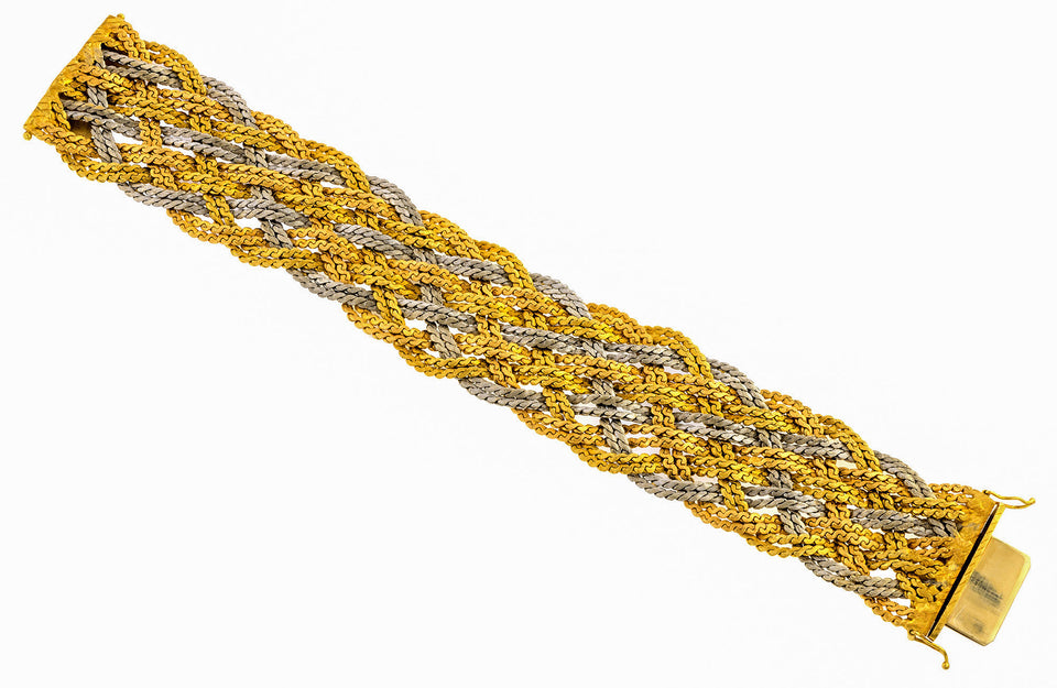 Vintage Wide Braided Gold Bracelet sold by Doyle & Doyle vintage and antique jewelry boutique.