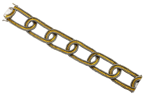 Vintage Wide Link Gold Bracelet sold by Doyle & Doyle vintage and antique jewelry boutique.