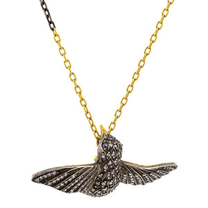 Vintage Diamond Hummingbird Pendant sold by Doyle & Doyle vintage and antique jewelry boutique.