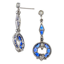 Sapphire & Diamond Drop Earrings sold by Doyle & Doyle vintage and antique jewelry boutique.
