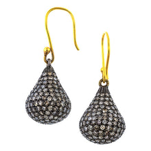 Estate Pave Diamond Tear Drop Earrings sold by Doyle & Doyle vintage and antique jewelry boutique.