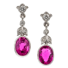 Estate Diamond & Pink Tourmaline Earrings