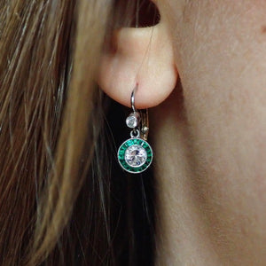 Diamond Emerald Target Earrings Fashioned in Platinum and gold from doyle and doyle  109630E