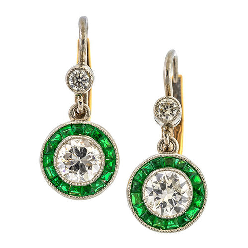 Diamond & Emerald Target Earrings sold by Doyle & Doyle vintage and antique jewelry boutique.