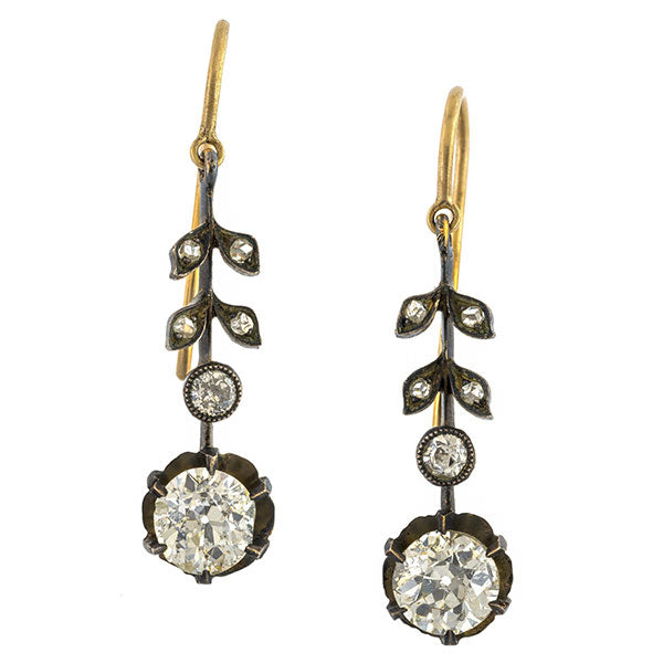 Antique Diamond Drop Earrings sold by Doyle & Doyle vintage and antique jewelry boutique.